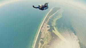 skydiving over noosa