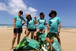 plastic clean up on fraser island