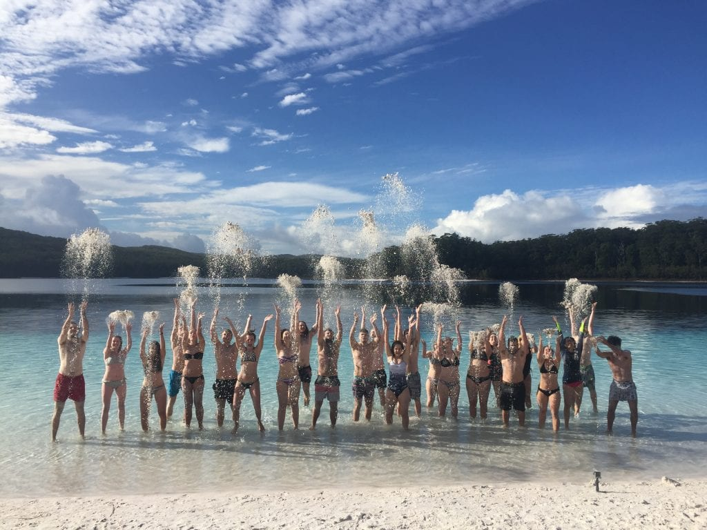 group photo on fraser island